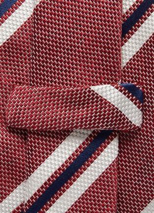 细节 - 点击放大 - STEFANOBIGI MILANO - ARNO拼色条纹丝混亚麻及棉领带
