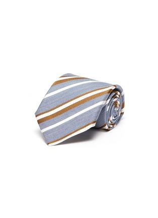 首图 - 点击放大 - STEFANOBIGI MILANO - Regimental拼色条纹丝混亚麻领带
