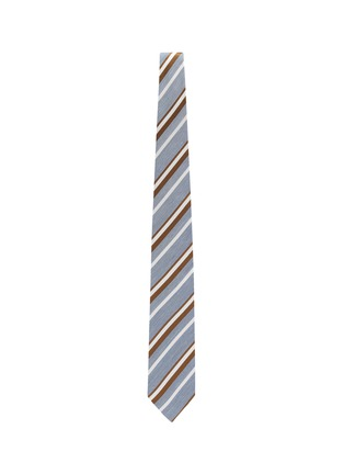 模特儿示范图 - 点击放大 - STEFANOBIGI MILANO - Regimental拼色条纹丝混亚麻领带