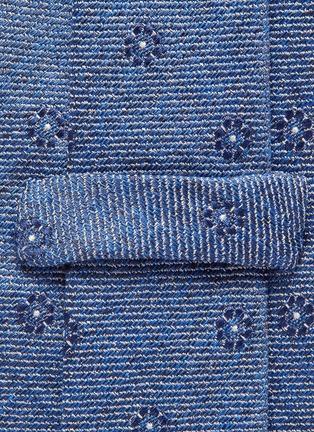 细节 - 点击放大 - STEFANOBIGI MILANO - 花卉提花丝混亚麻及棉领带