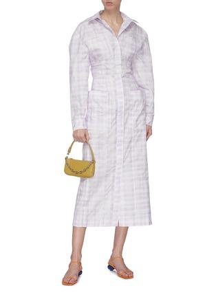 模特儿示范图 - 点击放大 - JACQUEMUS - 拼贴口袋拼色格纹纯棉半裙