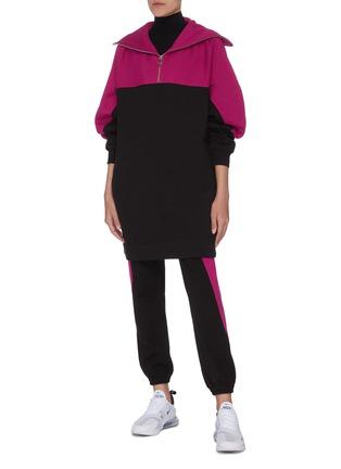 模特儿示范图 - 点击放大 - NINETY PERCENT - 拼色半开襟有机棉上衣