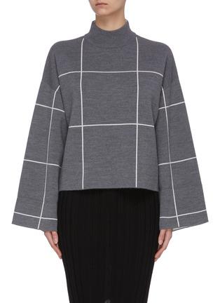 首图 - 点击放大 - NINETY PERCENT - 拼色格纹短款有机超细美丽诺羊毛针织衫