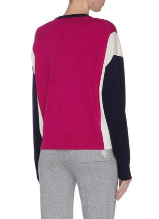 背面 - 点击放大 - NINETY PERCENT - 拼色超细美丽诺羊毛针织衫