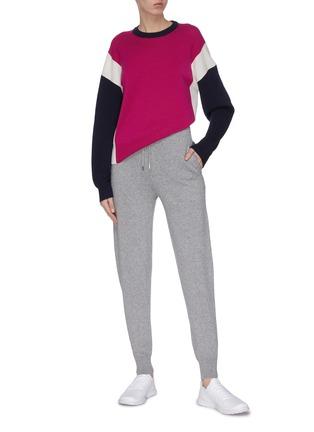 模特儿示范图 - 点击放大 - NINETY PERCENT - 拼色超细美丽诺羊毛针织衫