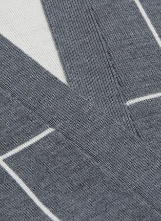 - NINETY PERCENT - 腰带拼色格纹有机超细美丽诺羊毛针织开衫