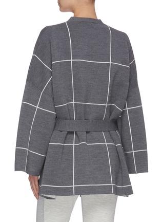 背面 - 点击放大 - NINETY PERCENT - 腰带拼色格纹有机超细美丽诺羊毛针织开衫