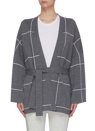 首图 - 点击放大 - NINETY PERCENT - 腰带拼色格纹有机超细美丽诺羊毛针织开衫