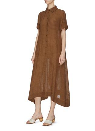 细节 - 点击放大 - LISA MARIE FERNANDEZ - 珠饰腰带混亚麻衬衫式连衣裙