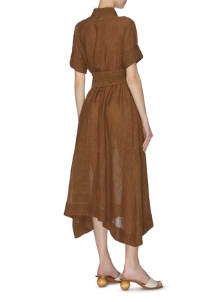 背面 - 点击放大 - LISA MARIE FERNANDEZ - 珠饰腰带混亚麻衬衫式连衣裙