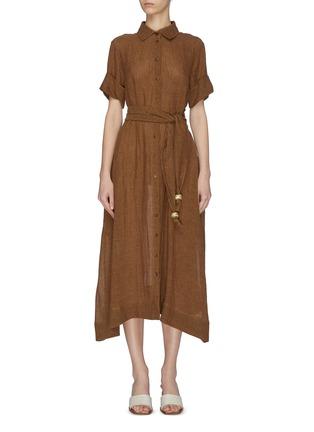 首图 - 点击放大 - LISA MARIE FERNANDEZ - 珠饰腰带混亚麻衬衫式连衣裙