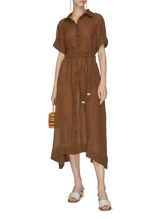 模特儿示范图 - 点击放大 - LISA MARIE FERNANDEZ - 珠饰腰带混亚麻衬衫式连衣裙
