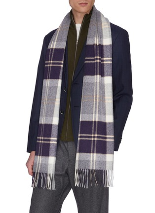 模特儿示范图 - 点击放大 - Johnstons of Elgin - 苏格兰格纹流苏围巾