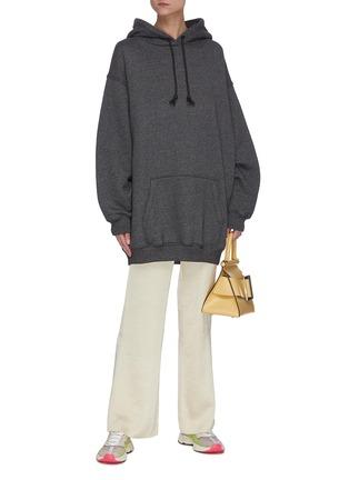 模特儿示范图 - 点击放大 - ACNE STUDIOS - 品牌名称标签混色oversize抽绳混棉连帽卫衣