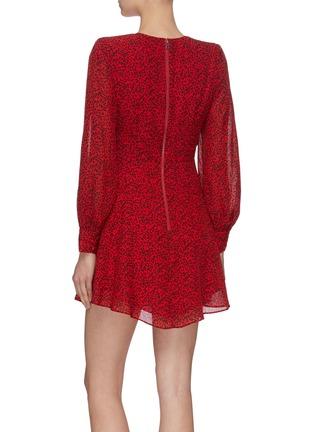背面 - 点击放大 - alice + olivia - POLLY V领豹纹褶裥连衣裙