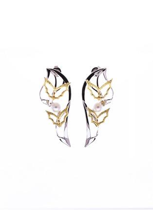 首图 - 点击放大 - GONG SHANG - 五福临门黄钻淡水珍珠18ct白金及黄金蝙蝠造型耳环