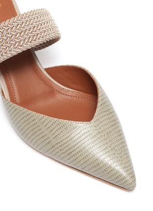细节 - 点击放大 - MALONE SOULIERS - MAISIE拼色绳编搭带尖头蜥蜴纹纹真皮高跟穆勒鞋