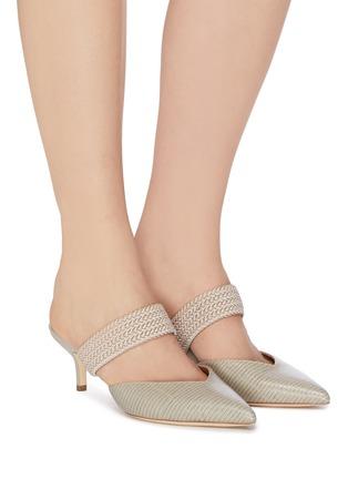 模特儿示范图 - 点击放大 - MALONE SOULIERS - MAISIE拼色绳编搭带尖头蜥蜴纹纹真皮高跟穆勒鞋