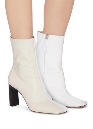 模特儿示范图 - 点击放大 - WANDLER - ISA拼色方头真皮高跟短靴