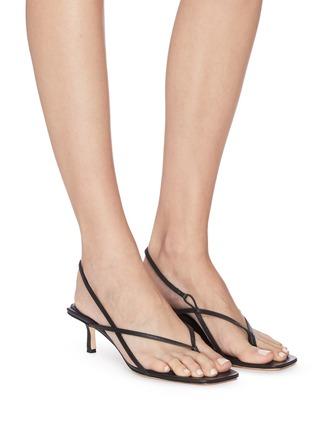 模特儿示范图 - 点击放大 - STUDIO AMELIA - 方头真皮高跟凉鞋