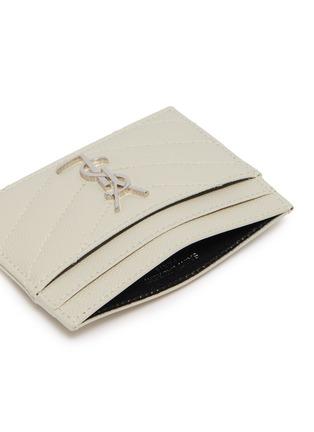 细节 - 点击放大 - SAINT LAURENT - 品牌标志绗缝人字纹粒面真皮卡包