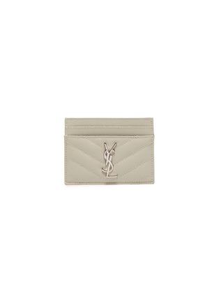 首图 - 点击放大 - SAINT LAURENT - 品牌标志绗缝人字纹粒面真皮卡包