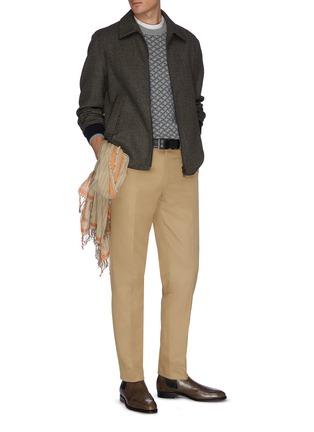 模特儿示范图 - 点击放大 - BRIONI - 钮扣纯棉斜纹布休闲裤