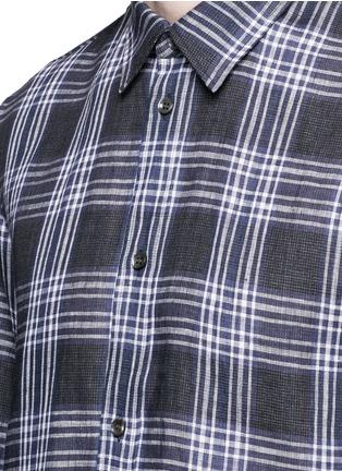 细节 - 点击放大 - MAISON MARGIELA - 大小格纹拼接亚麻衬衫