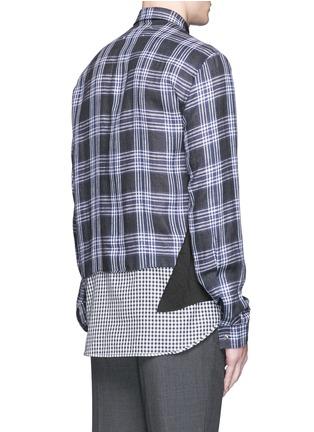 背面 - 点击放大 - MAISON MARGIELA - 大小格纹拼接亚麻衬衫