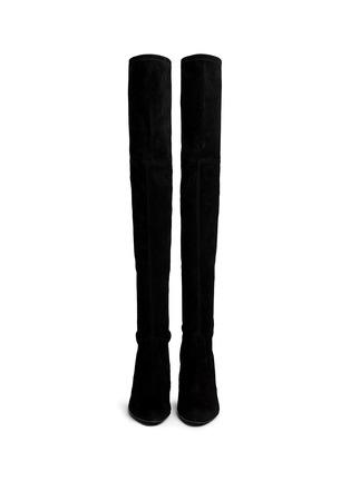 模特儿示范图 - 点击放大 - STUART WEITZMAN - 麂皮过膝长靴