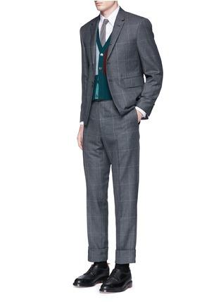 模特儿示范图 - 点击放大 - THOM BROWNE - 千鸟格纹羊毛西服套装