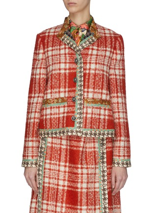 首图 - 点击放大 - Gucci - 格纹真丝拼接羊毛混马海毛粗花呢外套