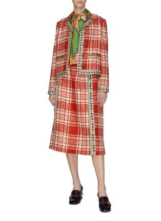 模特儿示范图 - 点击放大 - Gucci - 格纹真丝拼接羊毛混马海毛粗花呢外套