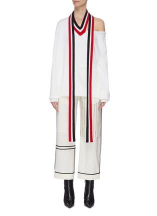 首图 - 点击放大 - Monse - 切割露单肩拼色条纹垂坠布饰超细美丽诺羊毛针织衫
