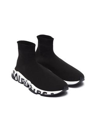 细节 - 点击放大 - BALENCIAGA - SPEED品牌名称拼色鞋底袜靴式针织运动鞋