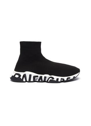 首图 - 点击放大 - BALENCIAGA - SPEED品牌名称拼色鞋底袜靴式针织运动鞋