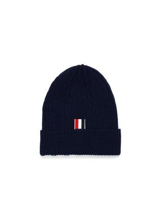 模特儿示范图 - 点击放大 - THOM BROWNE - 四重条纹羊绒罗纹针织帽