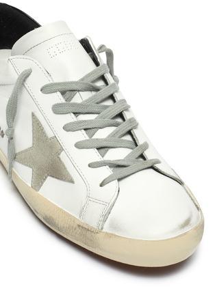 细节 - 点击放大 - GOLDEN GOOSE - SUPERSTAR拼接设计五角星做旧感真皮运动鞋