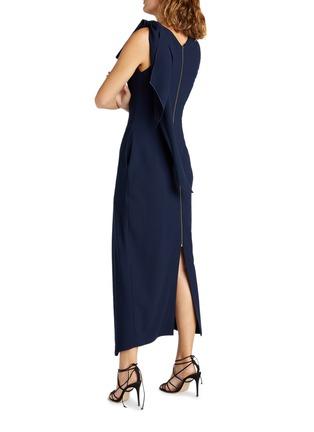 背面 - 点击放大 - ROLAND MOURET - GOLDCREST搭叠垂坠布饰开衩绉绸连衣裙