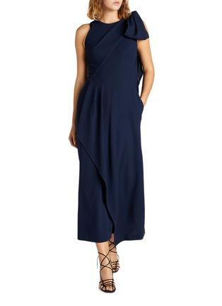 模特儿示范图 - 点击放大 - ROLAND MOURET - GOLDCREST搭叠垂坠布饰开衩绉绸连衣裙