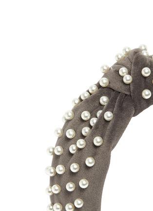 细节 - 点击放大 - LELE SADOUGHI - Graphite人造珍珠扭结天鹅绒发箍