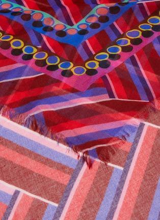 细节 - 点击放大 - FRANCO FERRARI - DANAO须边拼色几何图案丝混莫代尔围巾