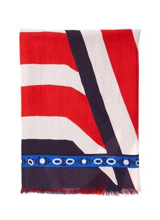 细节 - 点击放大 - FRANCO FERRARI - DILETTO须边拼色条纹几何图案棉混丝围巾
