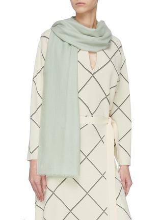 模特儿示范图 - 点击放大 - Janavi - 金属丝线点缀超细美丽诺羊毛围巾