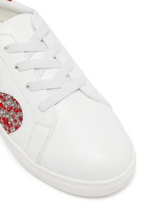 细节 - 点击放大 - WiNK - MILKSHAKE儿童款仿水晶爱心金属丝线图案绒面皮拼贴真皮运动鞋