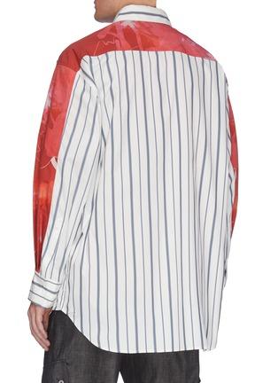 背面 - 点击放大 - Feng Chen Wang - x Lane Crawford拼色抽象图案条纹混棉衬衫
