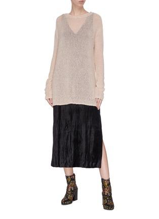 模特儿示范图 - 点击放大 - SWAYING - 亮片金属丝线微透视效果针织衫