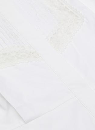 - SELF-PORTRAIT - 褶裥花卉蕾丝微透视纯棉衬衫式连衣裙