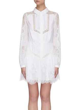 首图 - 点击放大 - SELF-PORTRAIT - 褶裥花卉蕾丝微透视纯棉衬衫式连衣裙