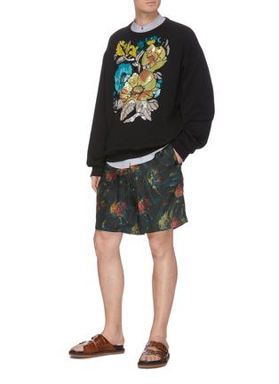 模特儿示范图 - 点击放大 - DRIES VAN NOTEN - 亮片珠饰花卉图案纯棉卫衣